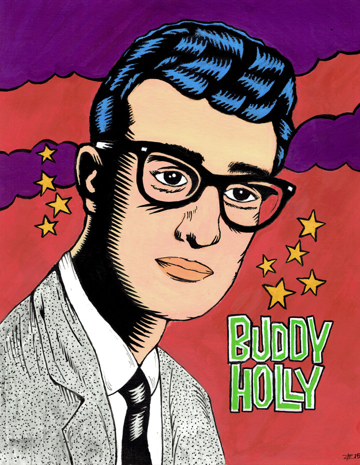 Buddy Holly Retrato Ilustración